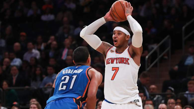 carmelo anthony, trade, thunder, roster, starting lineup