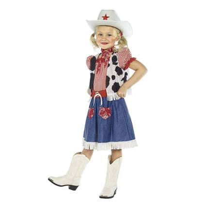 red gingham and denim cowgirl costume