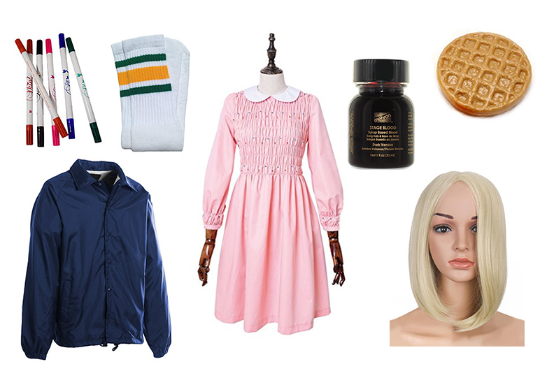 Elements of Stranger Things Eleven look with pink dress