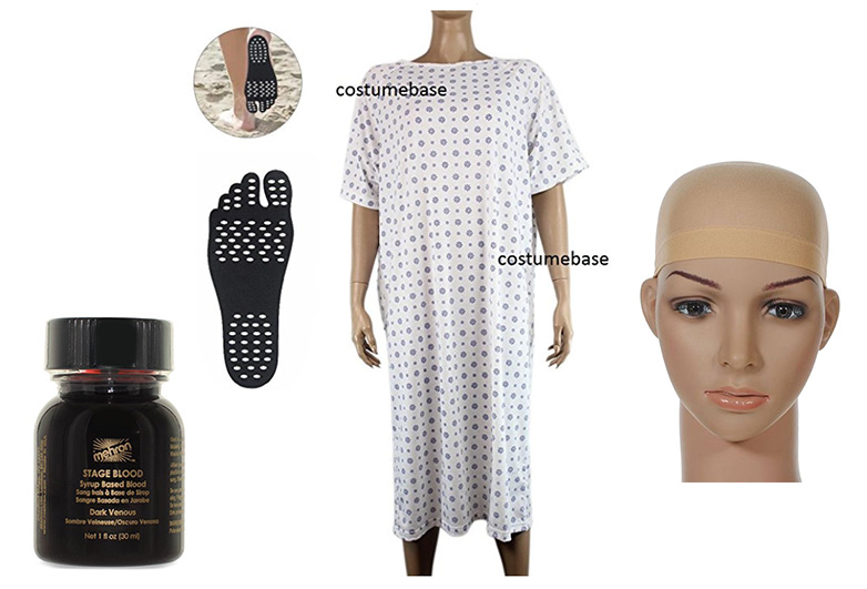 Eleven costume from stranger things with hospital gown and bald cap