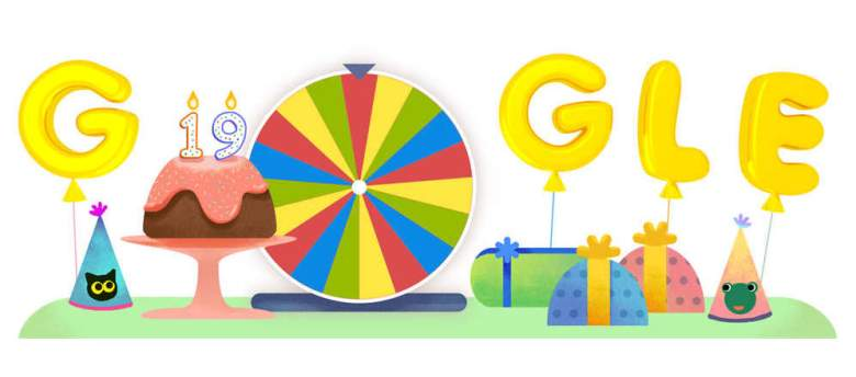 """Google is celebrating its 19th birthday with a """"Surprise Spinner."""""""