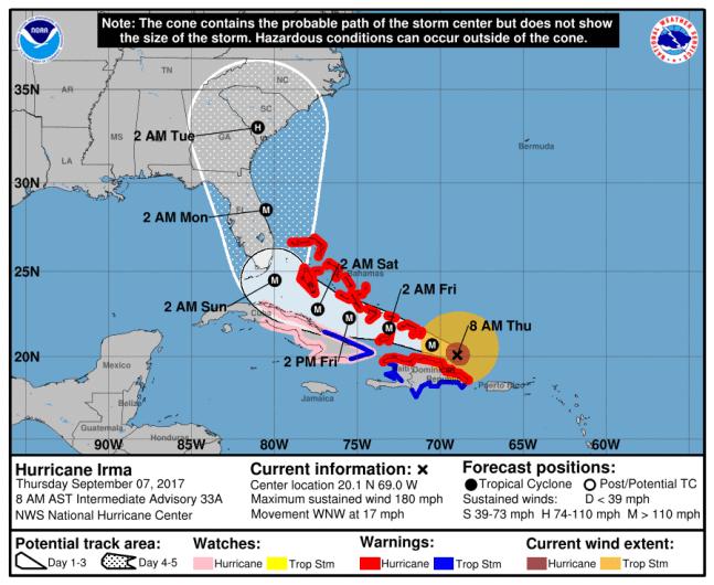 Hurricane Irma path, Hurricane Irma warning, Florida hurricane watch