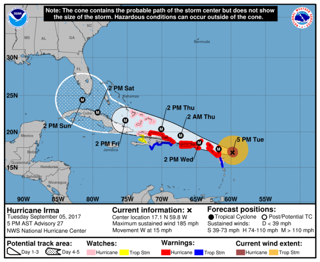 Hurricane Irma path, Hurricane Irma projection, Hurricane Irma map