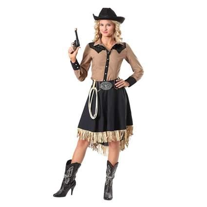 tan and black fringe skirt cowgirl costume