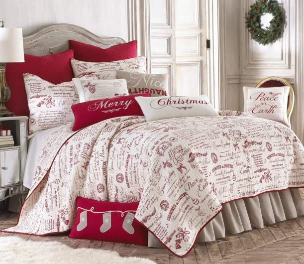 christmas bedding, christmas quilt, holiday bedding