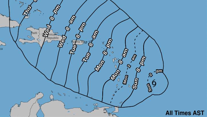 Hurricane Maria times, Hurricane Maria path, Hurricane Maria track
