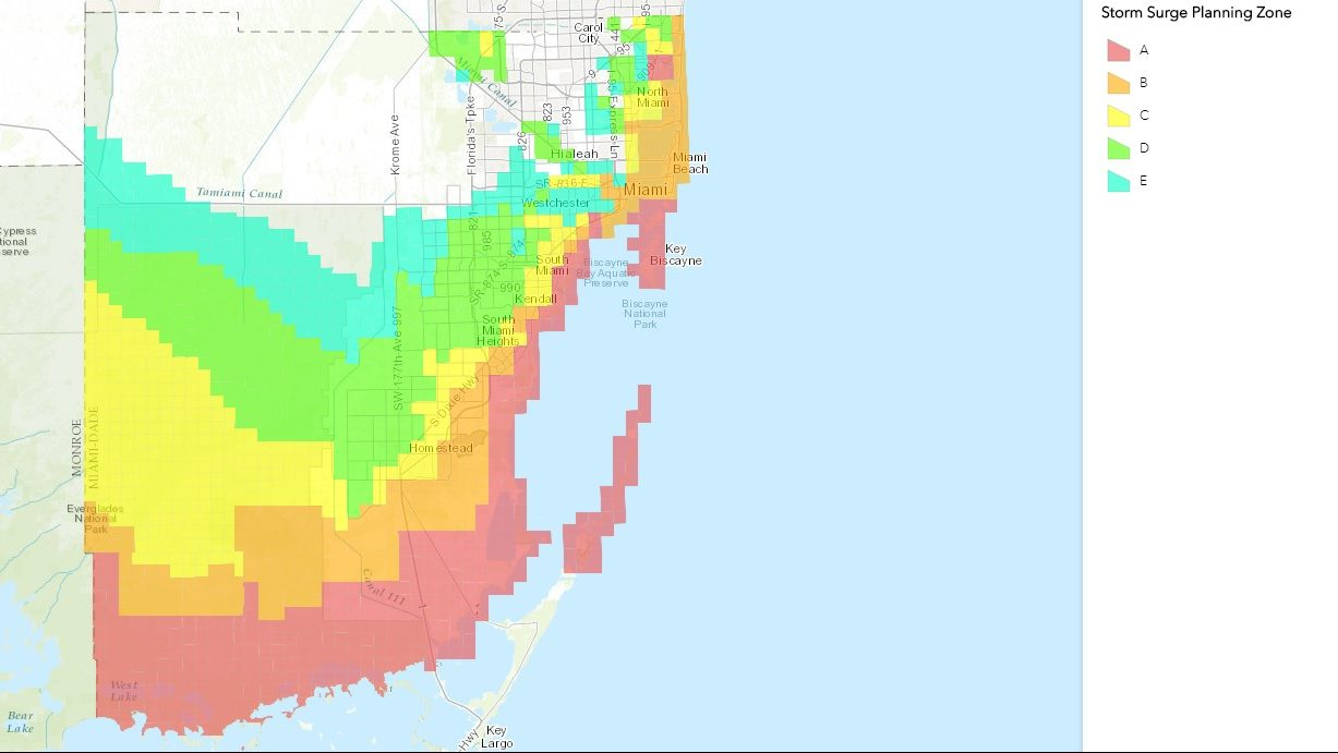 miami-dade county evacuation zones map & shelters for