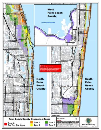 West Palm Beach evacuation zones, Broward County evacuation, Hurricane Irma Evacuation Zones