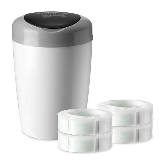 Tommee Tippee Simplee Diaper Pail Starter Set with 4 Refills (Grey), tommee tippee diaper pail, best diaper pail, diaper pail, best diaper pail for nursery, diaper pail for nursery, small diaper pail, plastic diaper pail