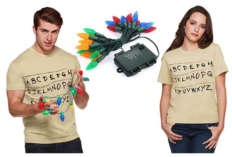 Alphabet wall shirt from Stranger things with christmas lights