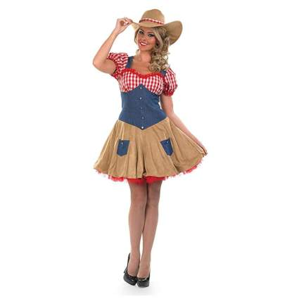 gingham and denim cowgirl costume for women