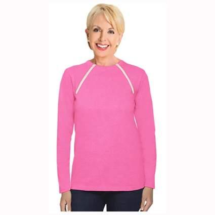 pink chemotherapy port zipper shirt for women