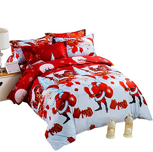 christmas bedding, christmas duvet cover, santa bedding