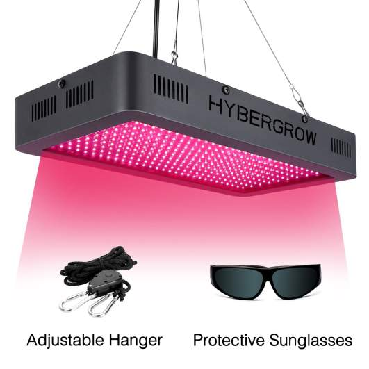 HYBERGROW Led Grow Light 1500w, with Adjustable Hanger,Newly SMD Powerful Full Spectrum Plant Growing Light with UV/IR for Veg and Flower