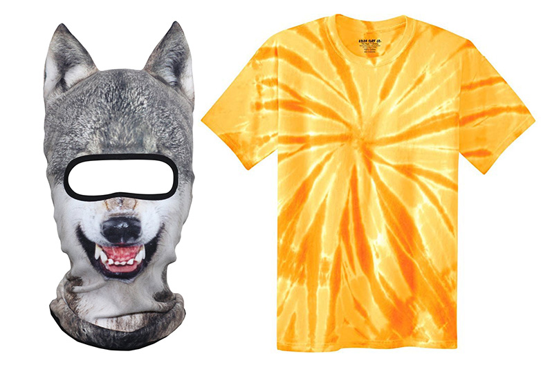 Wolf mask and orange tie dye shirt