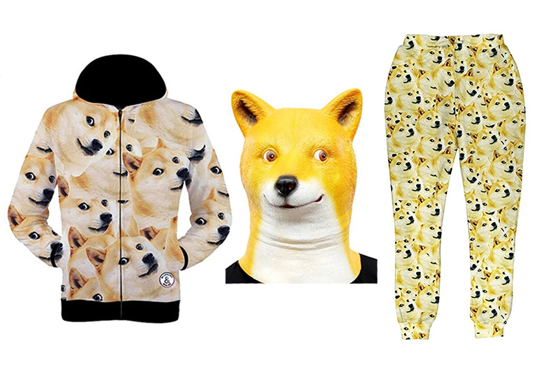 Clothes covered in images of Doge