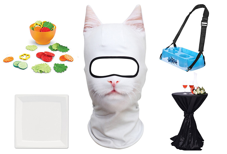 White cat mask and accessories for table cat costume