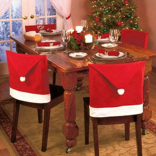 christmas chair cover, santa hat chair covers