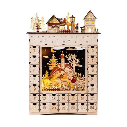 bavarian village lighted wooden advent calendar