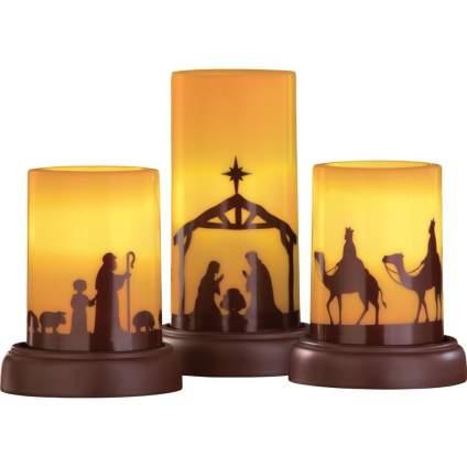 christmas nativity set, nativity candle set