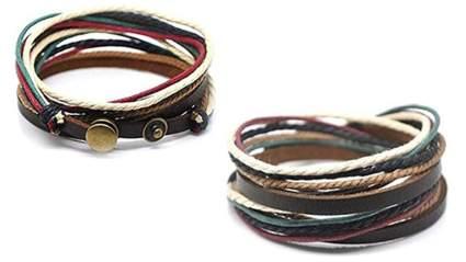 coolla adjustable mens brown leather multicolor ropes bracelet