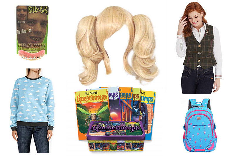 Costume pieces for Ermahgerd costume including wig book and vest