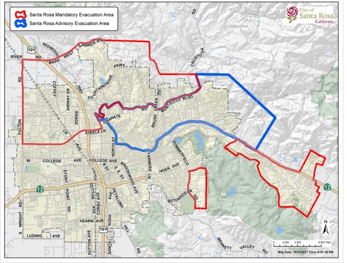 santa rosa evacuation map