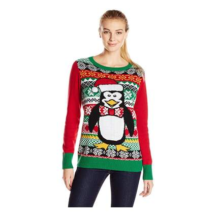 festive penguin light up christmas sweater