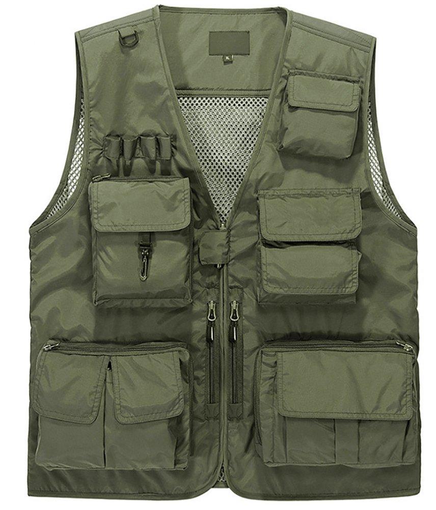 Lieshezhe Men Mesh Breathable Multi-Pocket Vest Outdoor Travelers Fly Fishing Photography