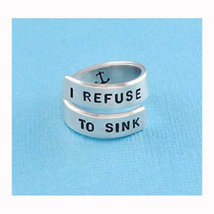 silver refuse to sink wrap ring