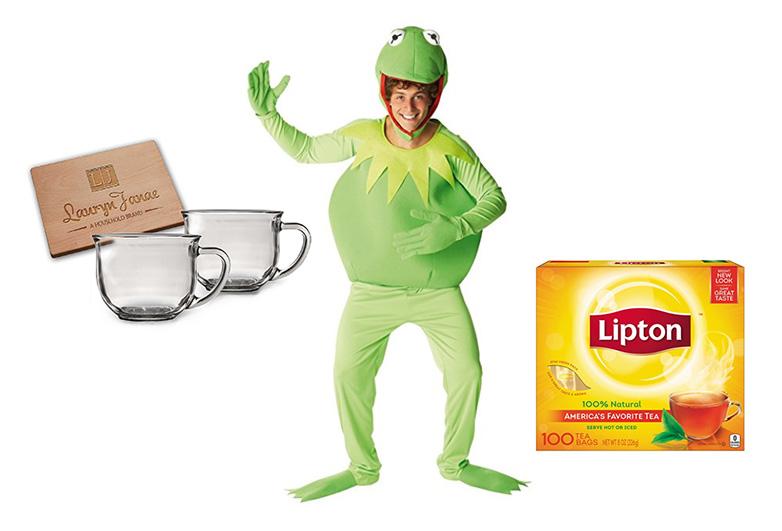 Kermit the frog costume with glass tea mugs and tea