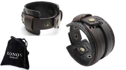 konov wide leather mens cuff bracelet