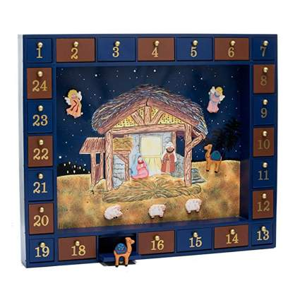 kurt adler wooden nativity advent calendar