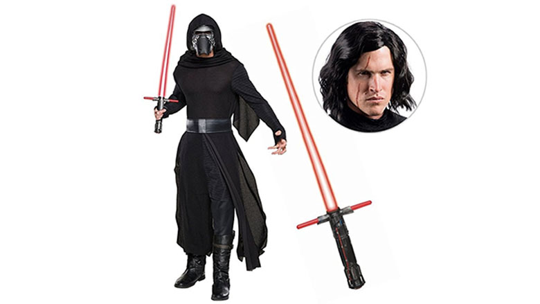 kylo ren deluxe adult costume with wig & lightsaber birthday express