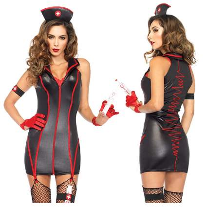 black and red sexy nurse costume