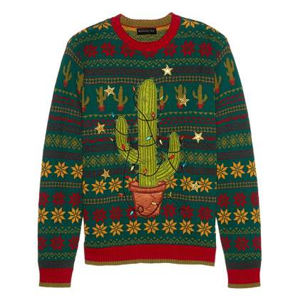 light up cactus christmas sweater