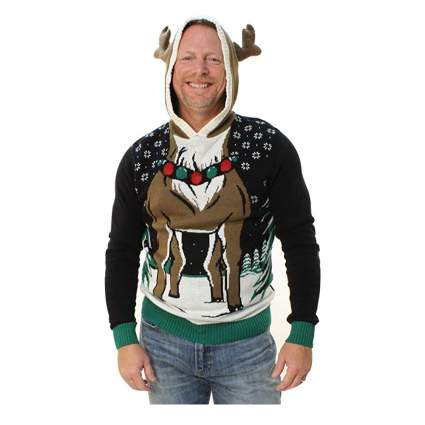 light up reindeer hooded sweater