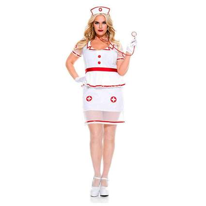 white plus size sexy nurse costume