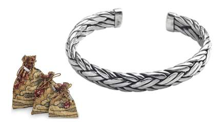 Novica mens modern sterling silver woven 'flowing water' bracelet