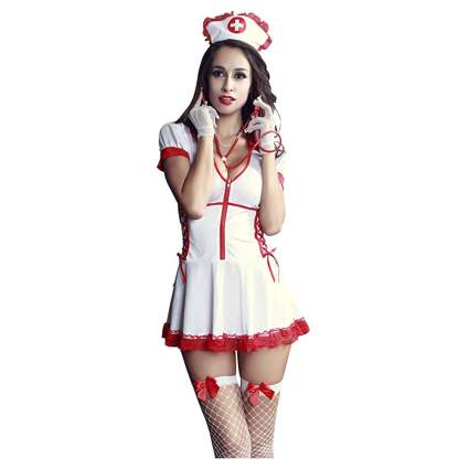 white and red lace sexy nurse costume