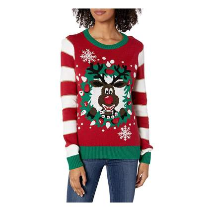 reindeer wreath light up christmas sweater