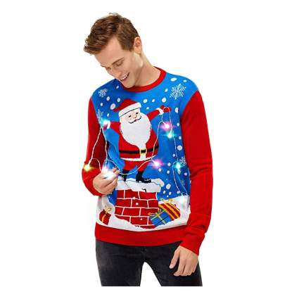 Santa Christmas lights holiday sweater