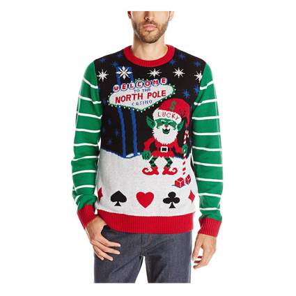 santa gambler light up sweater