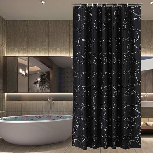 black bathroom accessories, black shower curtains
