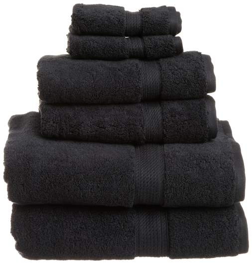 black bathroom accessories, black towels