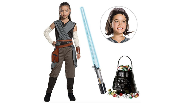 The Last Jedi girls rey costume with wig and lightsaber birthday express