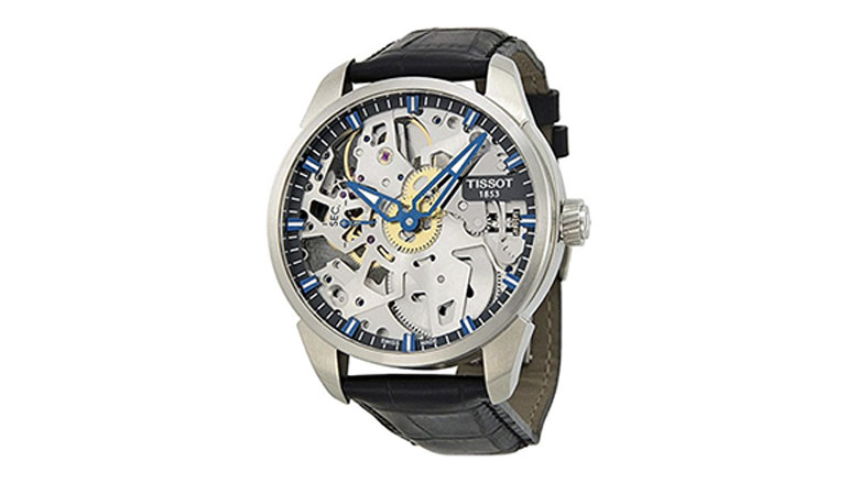 tissot mens t-complication squelette stainless steel mechanical watch
