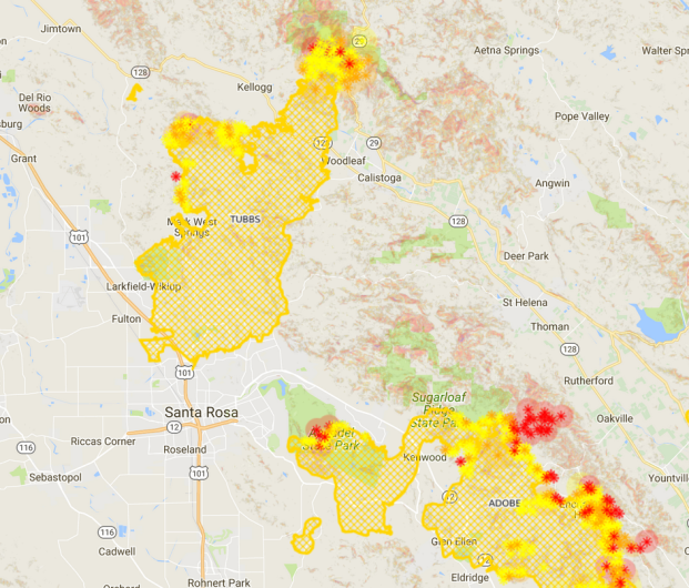 tubbs fire map
