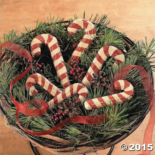 christmas candy cane decorations, rustic candy canes, wood candy canes