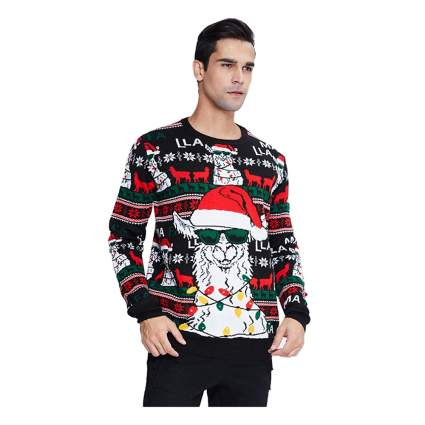 ugly llama light up christmas sweater